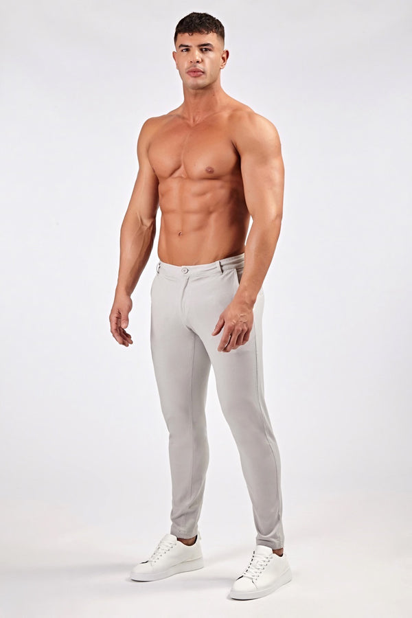 Premium Stretch Chinos in Light Grey