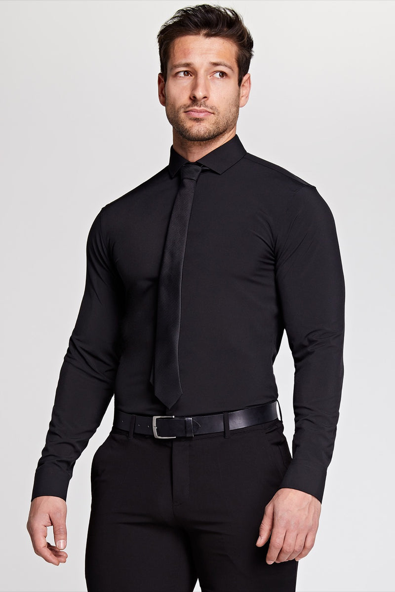 Elite Cutaway Collar Shirt In Black