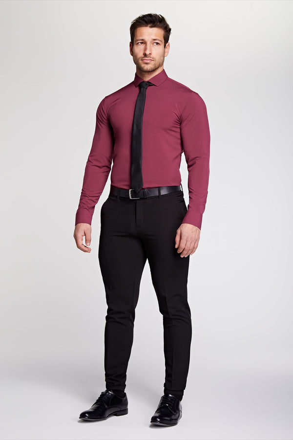 Elite Cutaway Collar Shirt In Burgundy