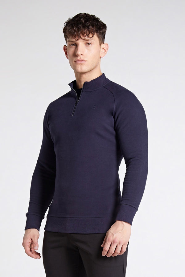 Essential Half Zip Sweater in Navy