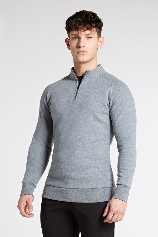 Essential Half Zip Sweater in Grey