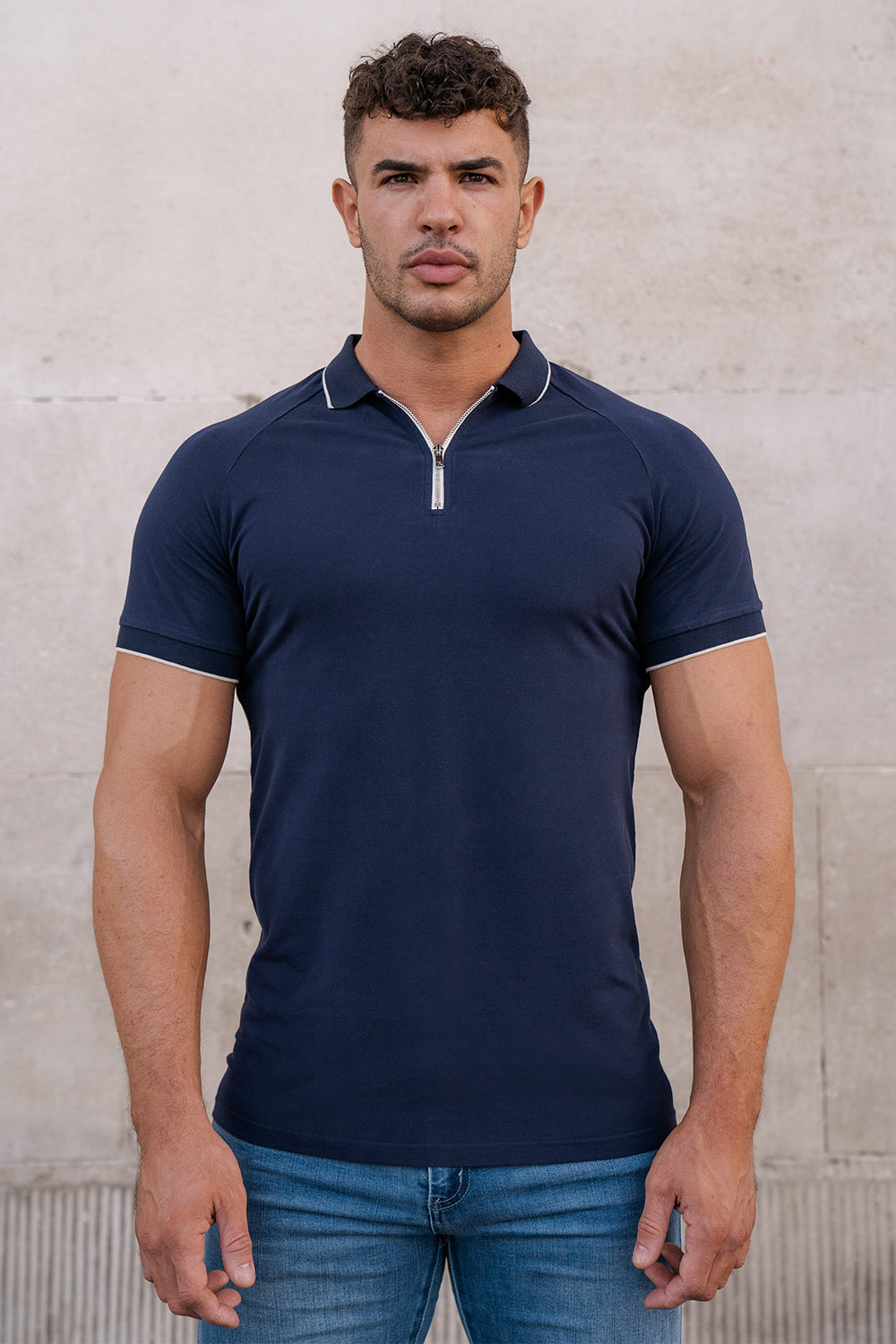 Piqué Zip Polo Shirt in Navy