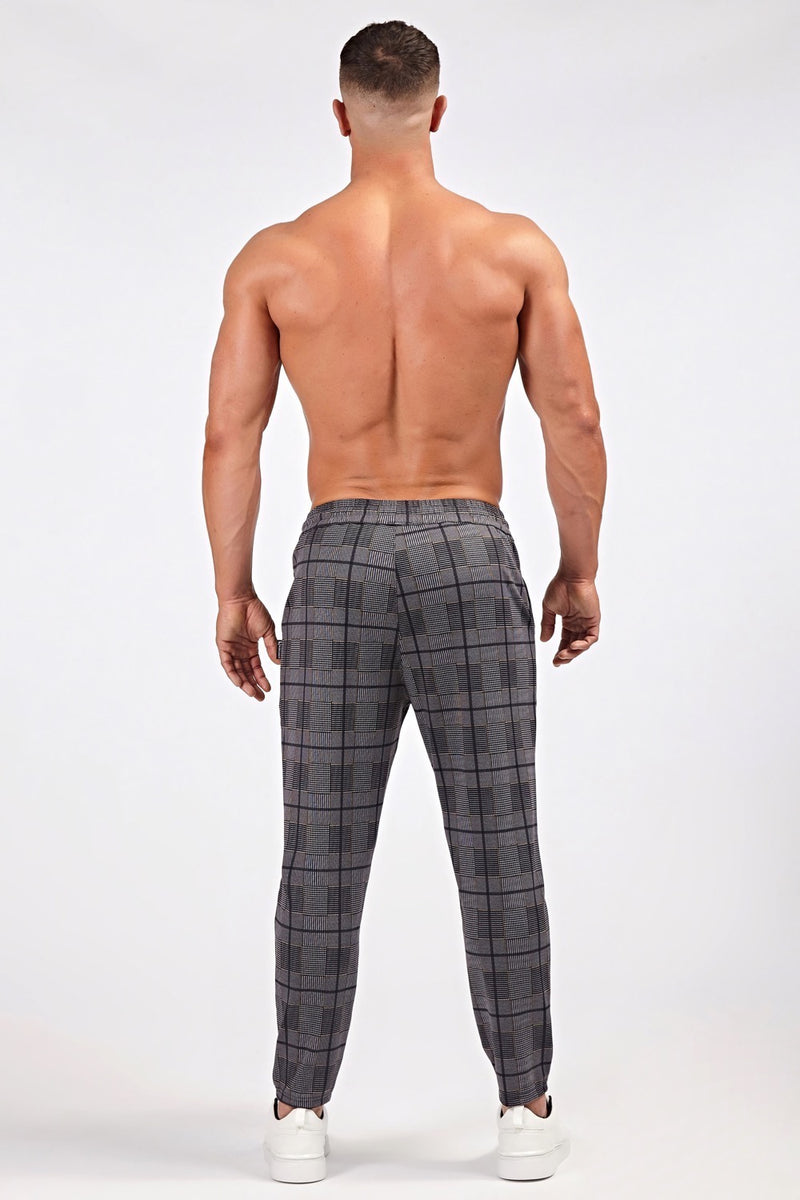 Smart Cropped Joggers in Grey/Yellow Check