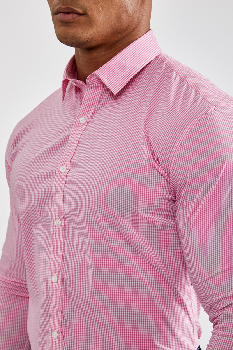 Premium Business Shirt in Checked Pink
