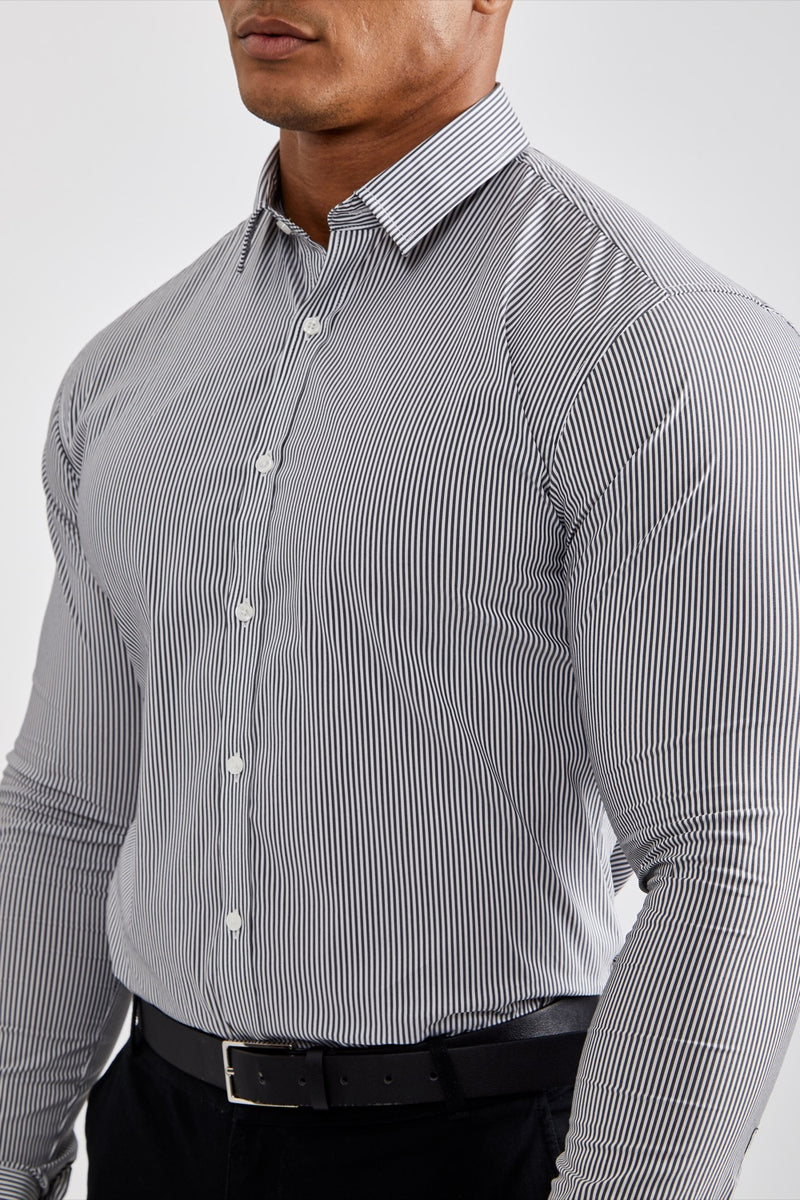Premium Business Shirt in Striped Black