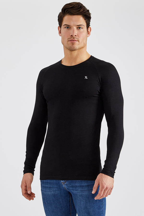 Stretch T-Shirt (LS) in Black