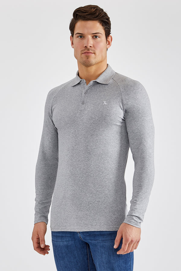 Stretch Polo Shirt (LS) in Grey