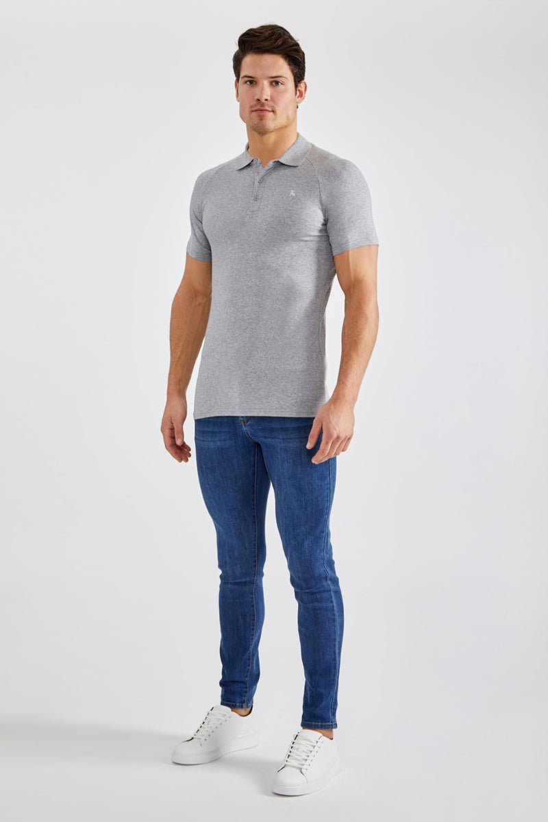 Stretch Polo Shirt in Grey