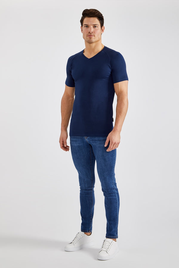Stretch V T-Shirt in Navy