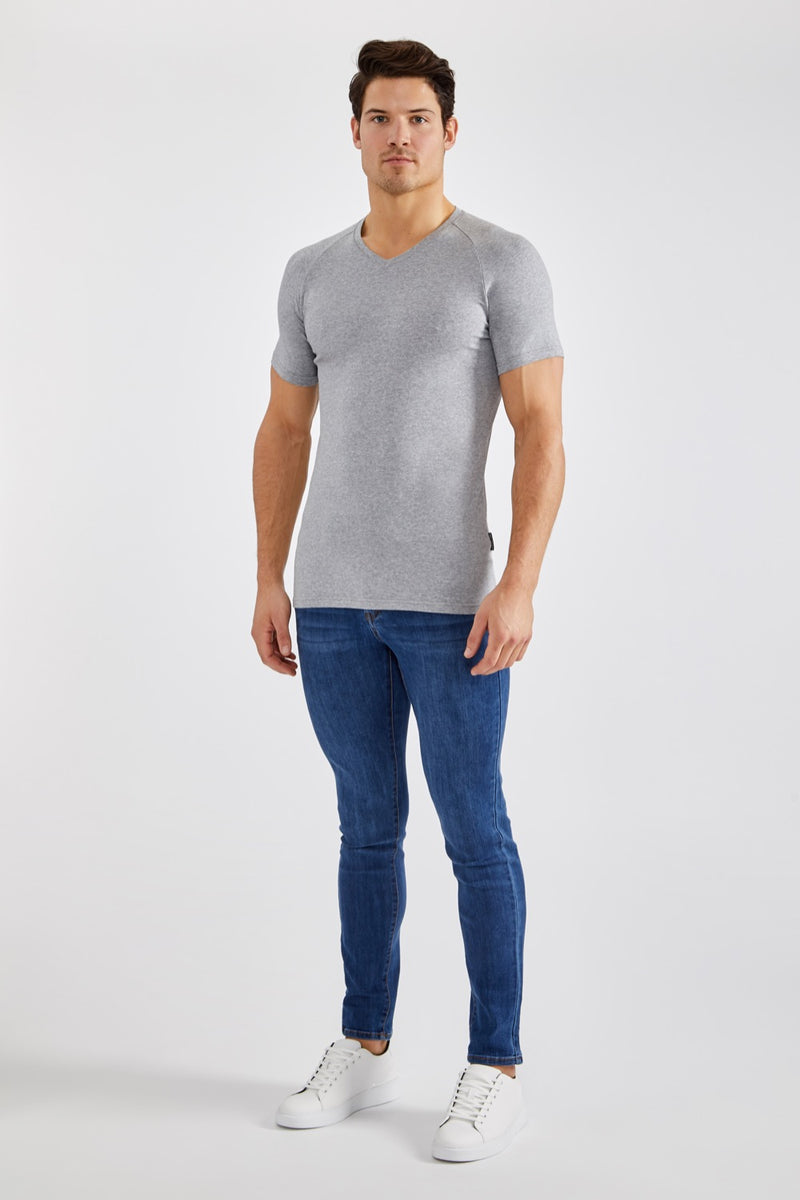 Stretch V T-Shirt in Grey