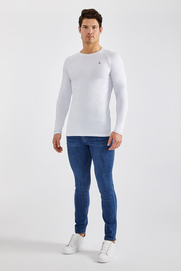 Stretch T-Shirt (LS) in White