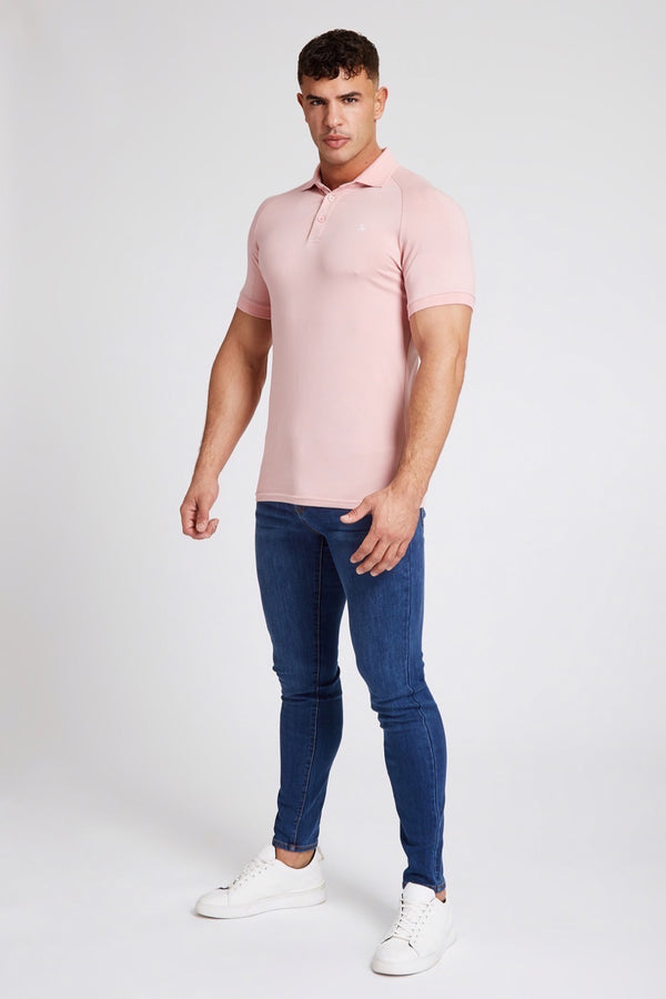 Stretch Polo Shirt in Rose Pink