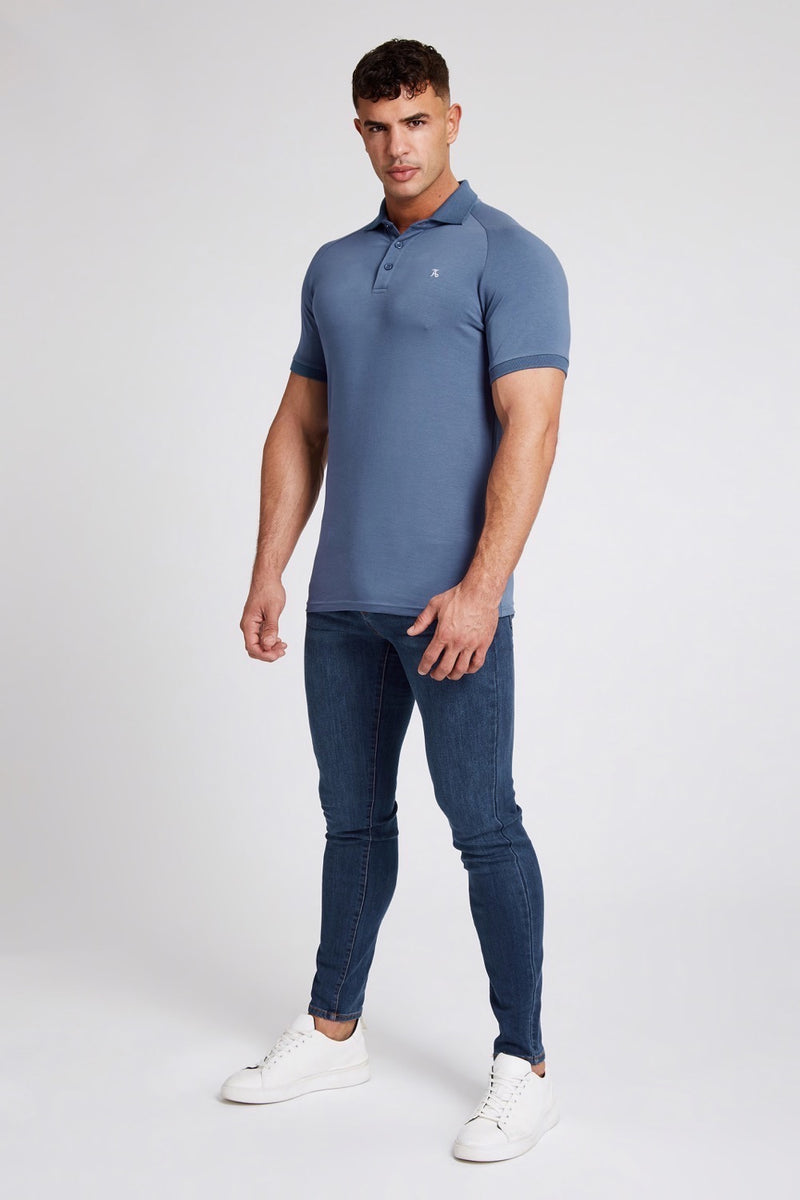 Essential Polo Shirt in Stone Blue