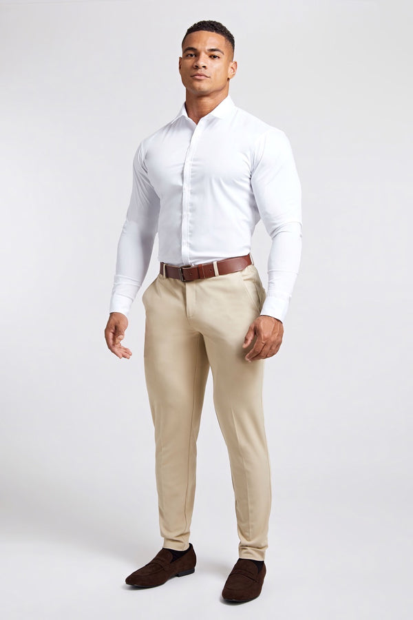 Premium Stretch Trousers in Beige