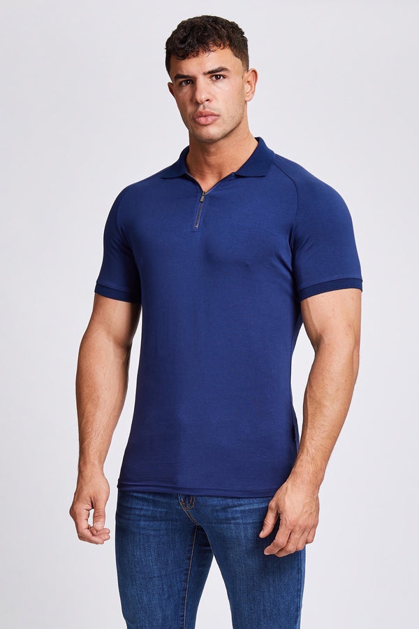 Zip Polo Shirt in Navy