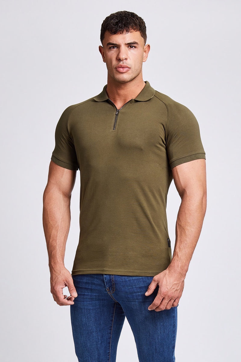Zip Polo Shirt in Olive