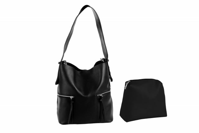 (WS) LEILANI vegan leather bucket bag - black - Slumber Party