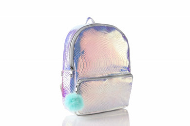 (Retail) Holographic Glitter Backpack w/pom-pom - Slumber Party