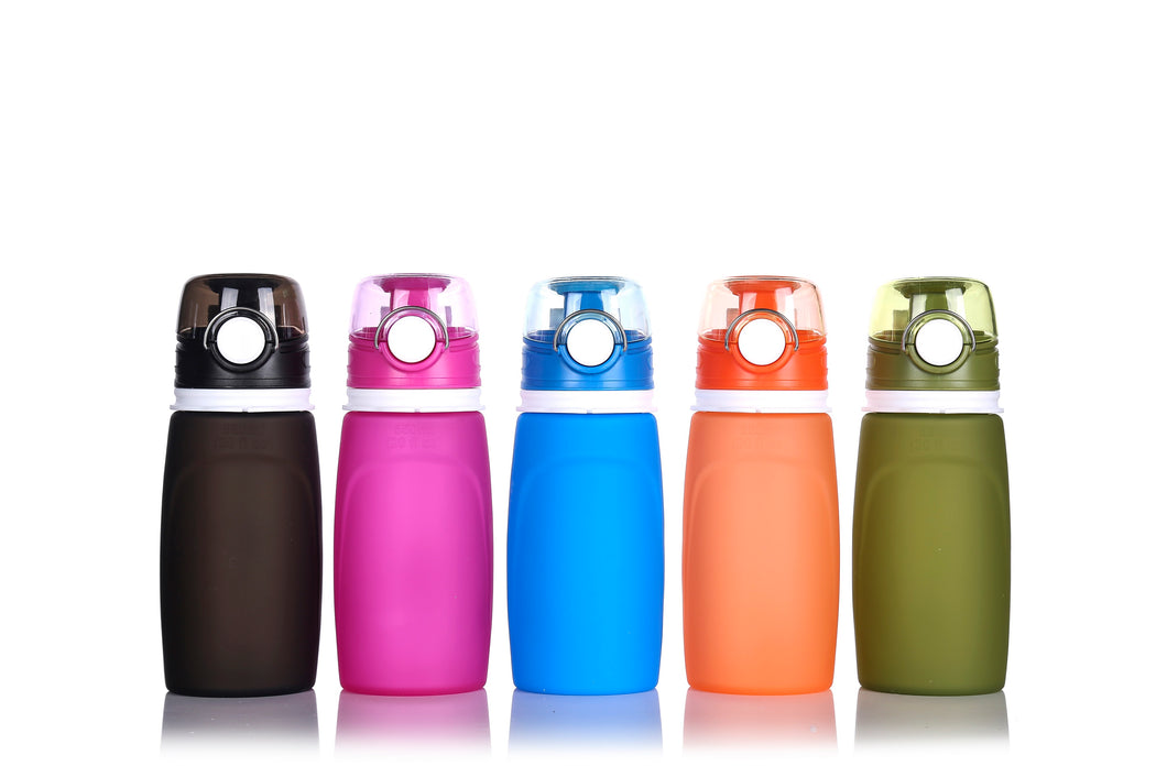 (Retail) Collapsible Water Bottle - Silicone Collapsible with Leak Proof Valve BPA Free - Slumber Party