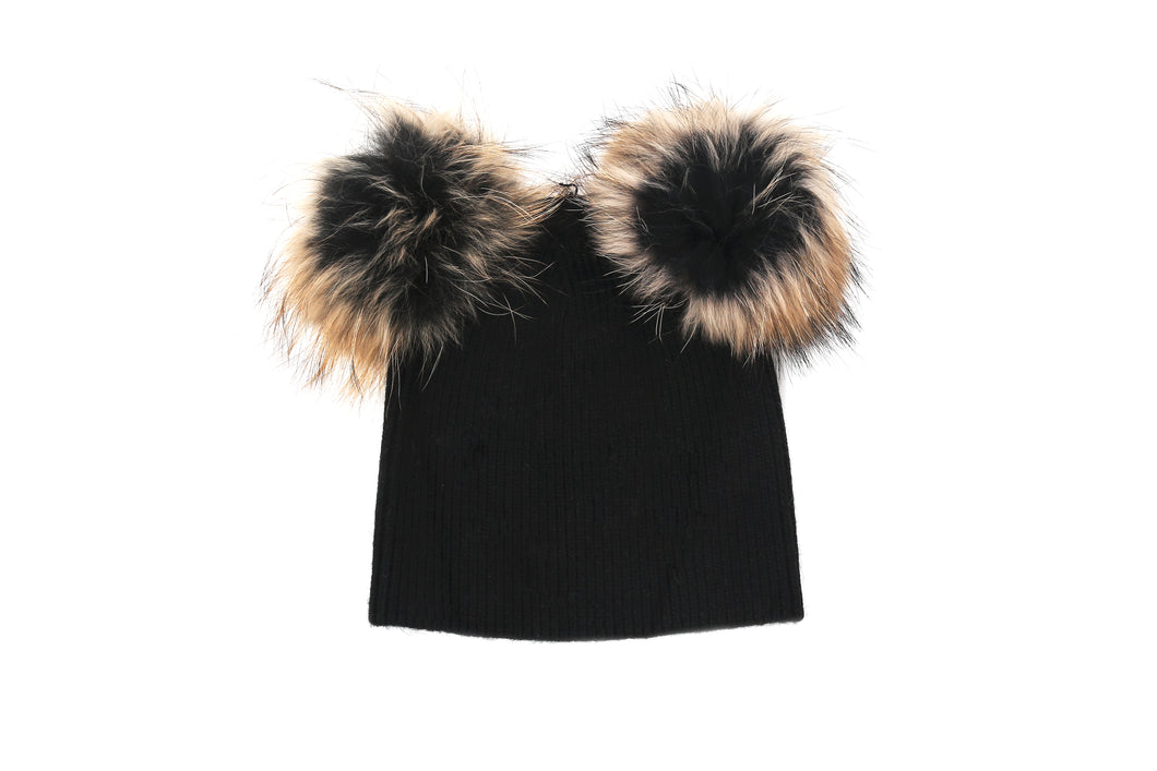 (retail) Angora Blend Beanie w/Genuine Fur Double Pom-Poms - Slumber Party