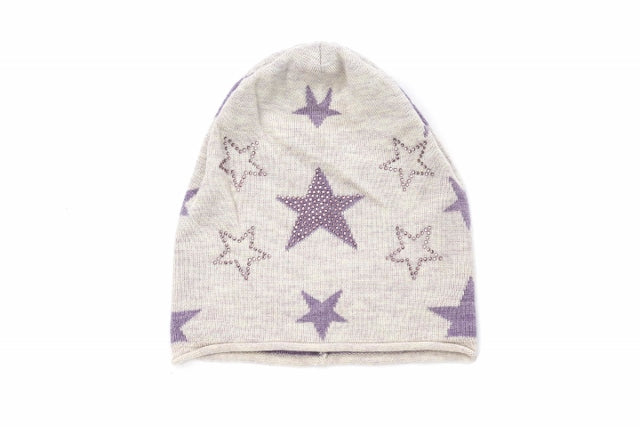 (Wholesale) Cashmere Beanie w/stars & Sparkly Beads - Slumber Party