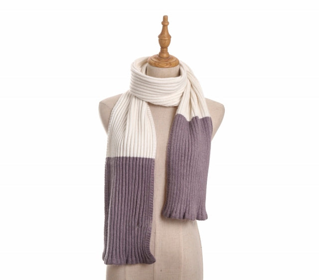 (Retail) Knitted & Ribbed Angora Scarf - Slumber Party