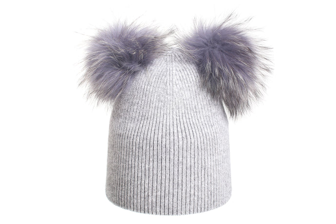 (Wholesale) Angora Blend Beanie w/Genuine Fur Double Pom-Poms - Slumber Party