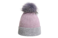 (retail) Angora Knitted and ribbed style Beanie w/Genuine Fur Pom Pom - Slumber Party