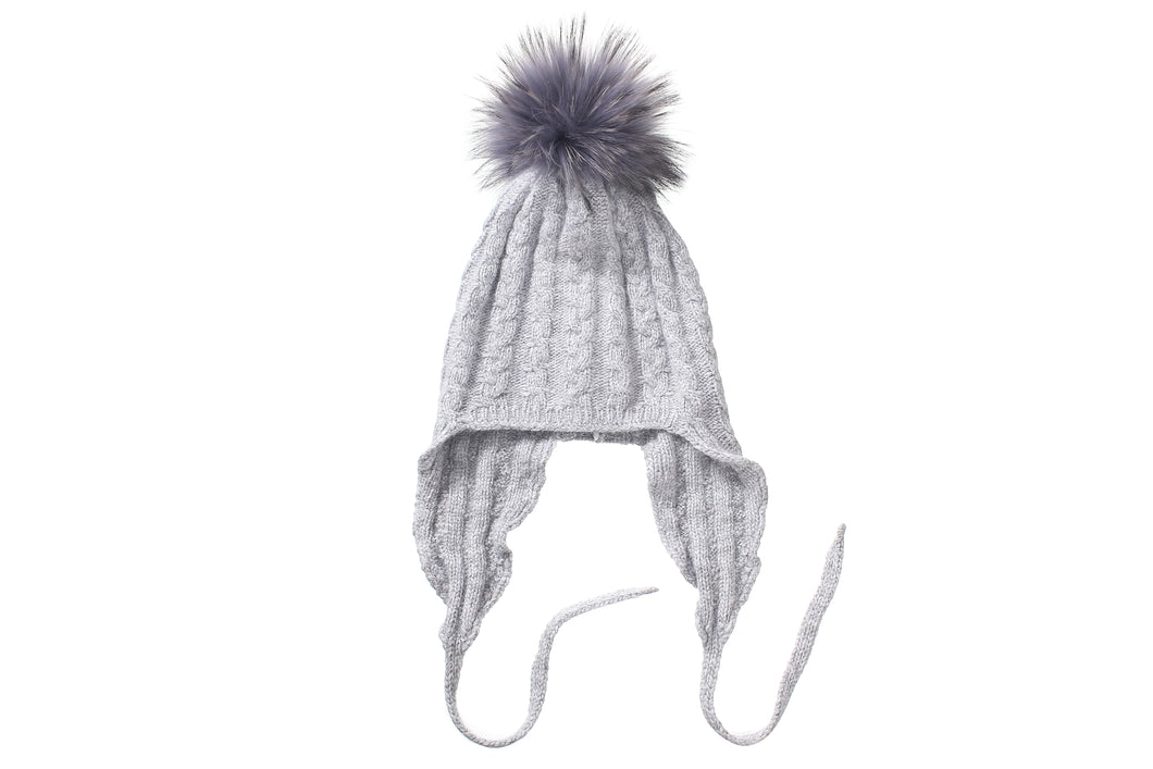 (wholesale)Angora Beanie with Pom-Pom and Ear cover - Slumber Party