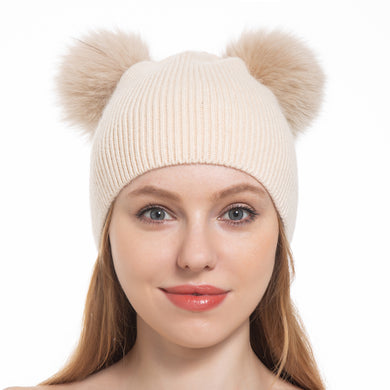 (RT)Double Pom-Poms Angora Blend Beanie w/Genuine Fur