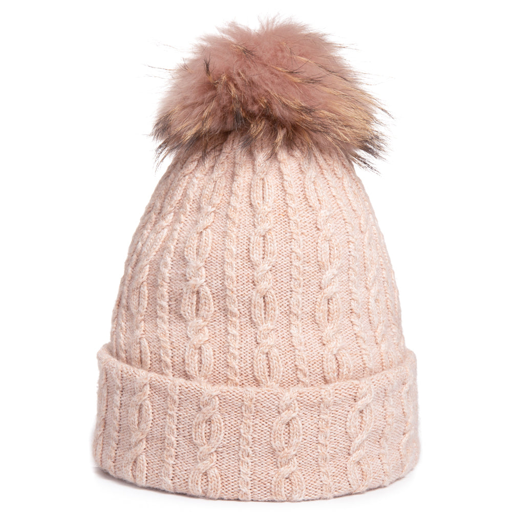 (RT)2-in-1 Convertible Beanie & Scarf Angora blend w/ Genuine fur Pom Pom