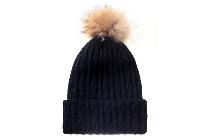 (Wholesale)Angora 2-in-1 Convertible Beanie & Scarf w/ Genuine fur Pom Pom - Slumber Party
