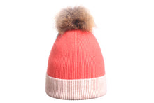 (Wholesale) Angora Knitted and ribbed style Beanie w/Genuine Fur Pom Pom - Slumber Party