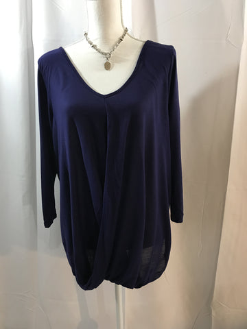 Purple Draped Wrap Front Knit Top
