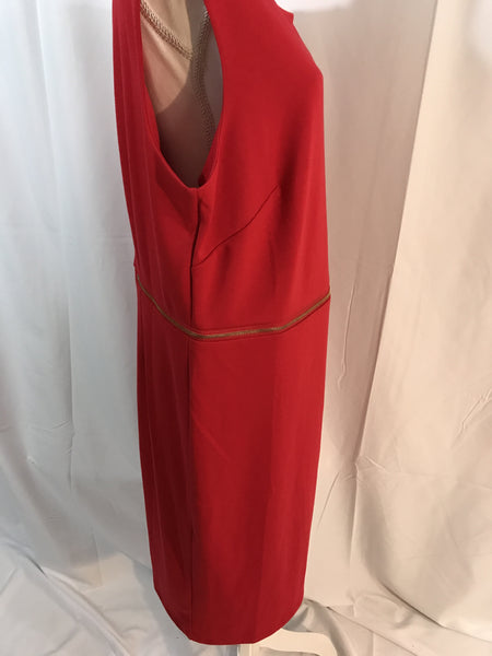 Red Dress with Gold Zipper Details