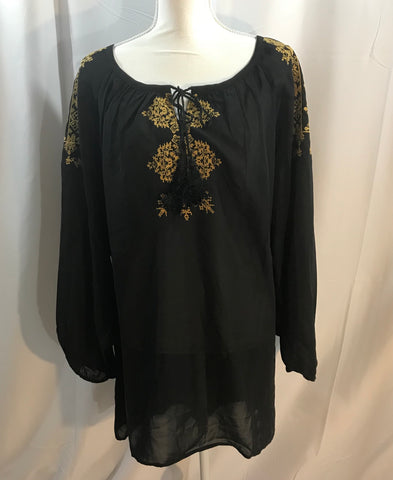 Sheer Black Tunic Top