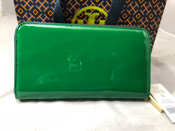 TORY BURCH Green Patent Leather Continental Stacked Zip Wallet