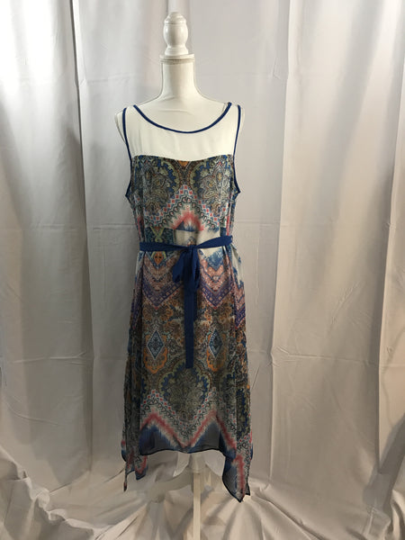 Blue Print Dress with Sheer Upper Chest and Back