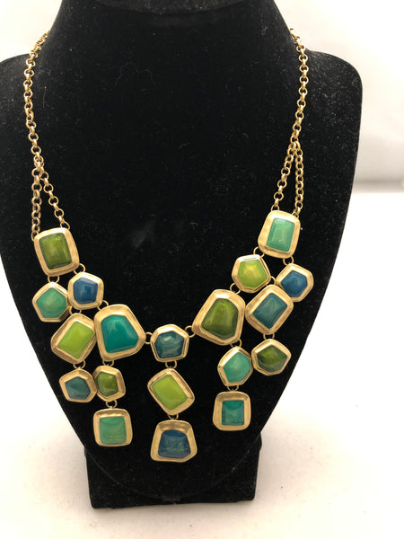 St. Thomas Green and Blue Gold Tone Necklace, Bracelet and Earrings