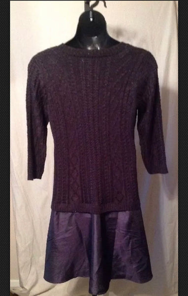 New Women's Mixt Black Cable Knit Sweater Dress Size 1XW