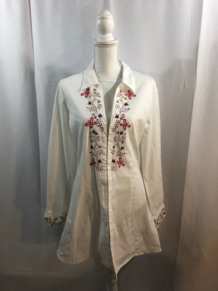 She's Cool White Cotton Shirt Size L