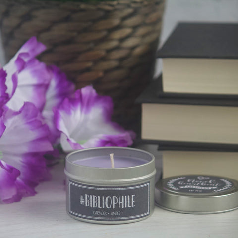 #BIBLIOPHILE SOY CANDLE TIN