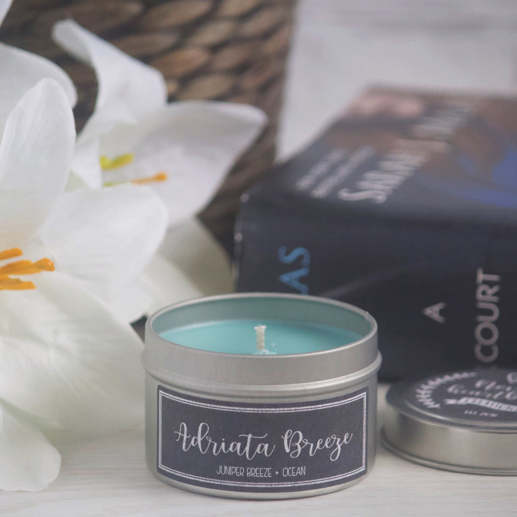 ADRIATA BREEZE SOY CANDLE TIN INSPIRED BY A COURT OF MIST AND FURY