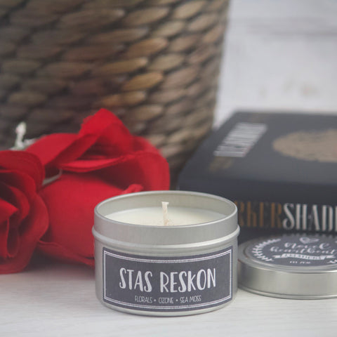 STAS RESKON SOY CANDLE TIN INSPIRED BY A DARKER SHADE OF MAGIC