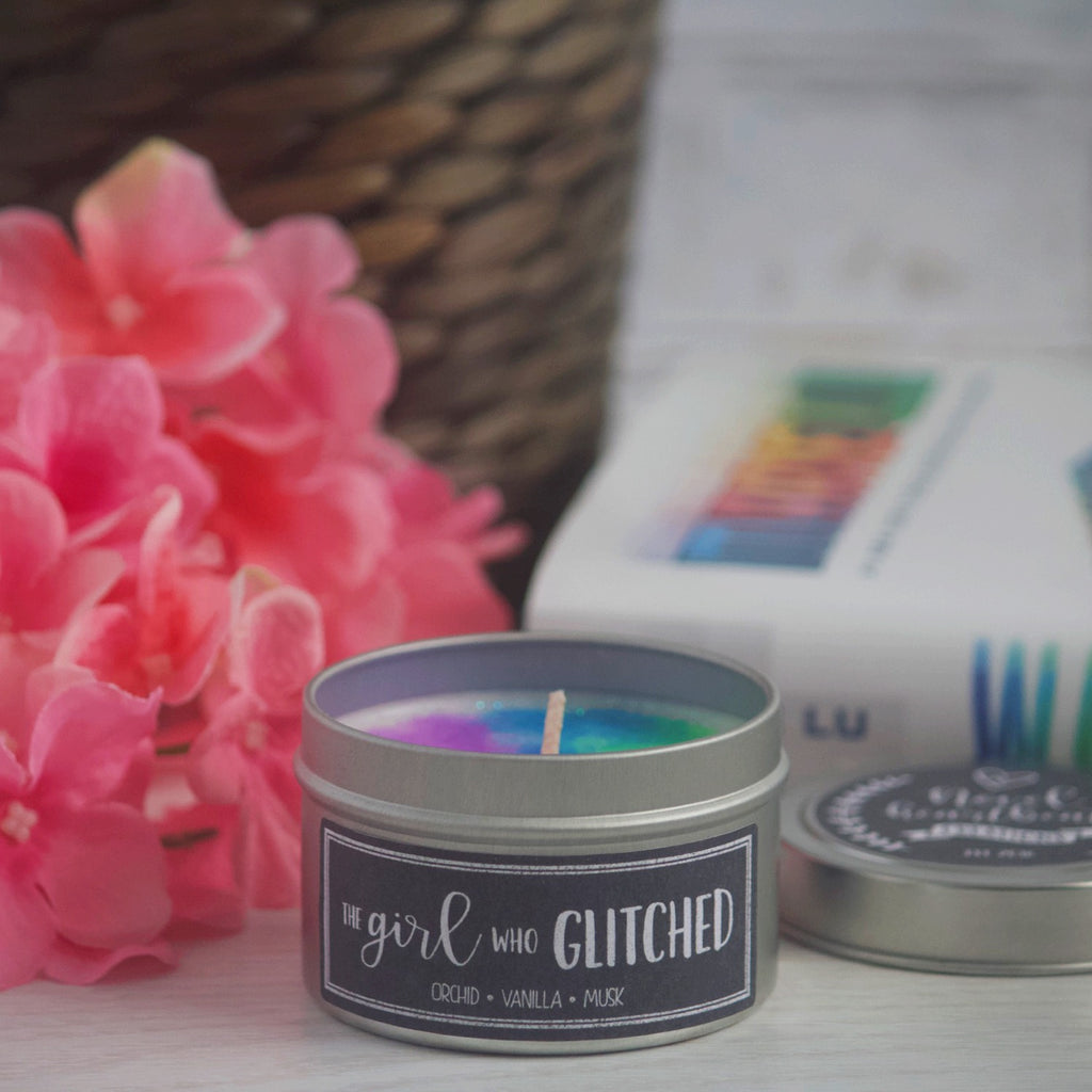 THE GIRL WHO GLITCHED SOY CANDLE TIN INSPIRED BY WARCROSS