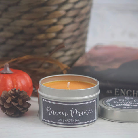 RAVEN PRINCE SOY CANDLE TIN INSPIRED BY AN ENCHANTMENT OF RAVENS