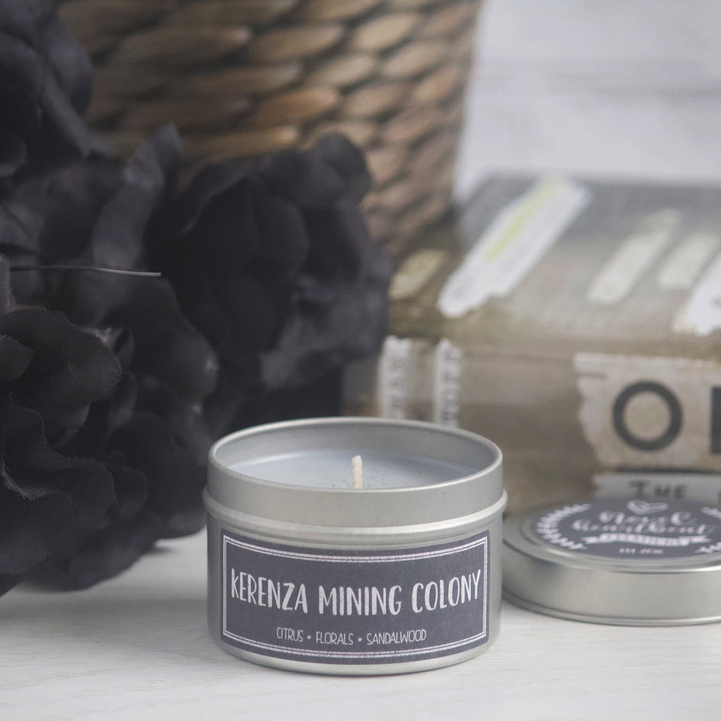 KERENZA MINING COLONY SOY CANDLE TIN INSPIRED BY THE ILLUMINAE FILES