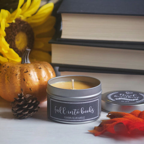 FALL INTO BOOKS SOY CANDLE TIN