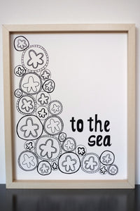 Sand Dollar Starfish Ocean Sea - Limited Edition Screen Printed Poster 11 x 14