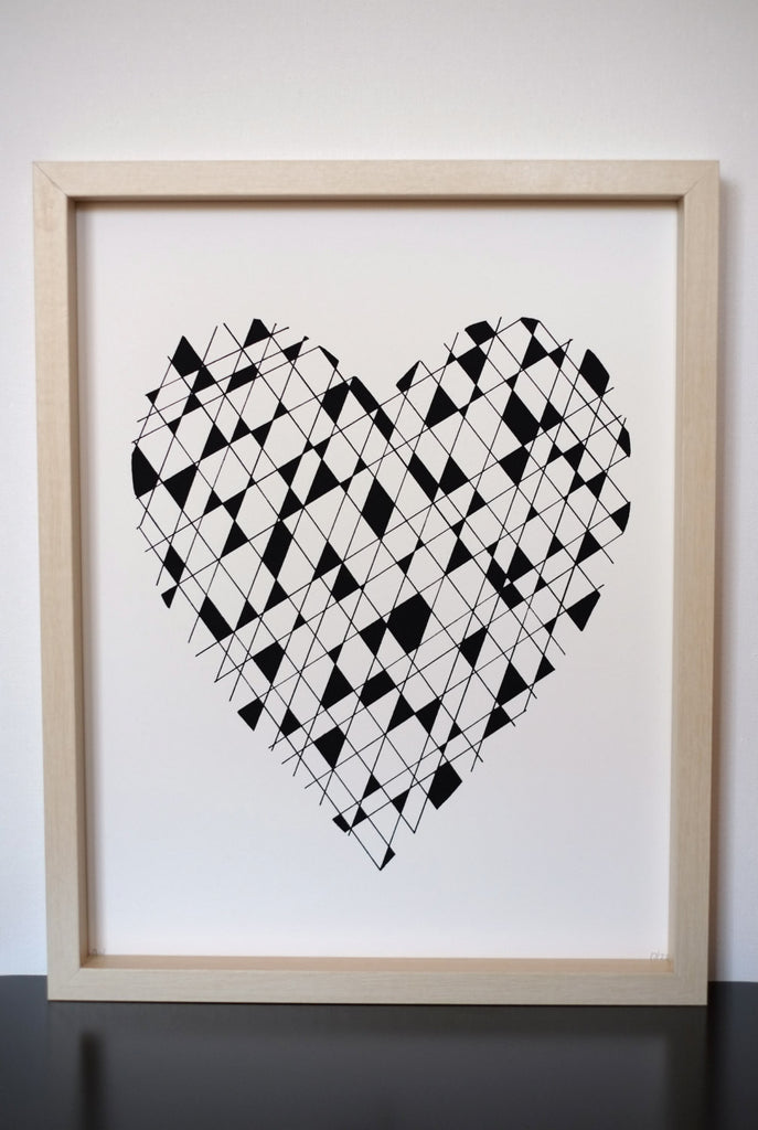 Geometic Heart - Screen Printed Poster Wall Art Print 11 x 14